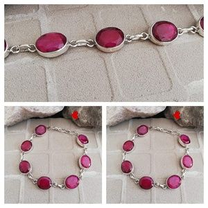 Genuine Ruby Bracelet 925 Silver Red Stone Fashion